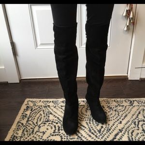Black Suede Over The Knee Blondee Boots
